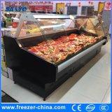 Supermercado utilizado vidro curvo Deslizante Deli Frigorífico Showcase