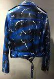 Veste en cuir véritable imprimée pour dames avec ceintures