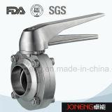 Sanitaria de acero inoxidable con bridas final de 3 piezas de la válvula de mariposa (JN-BV3001)