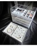 Organisateur acrylique de bijou avec 5 tiroirs et plateaux d'étalage de bijou de velours