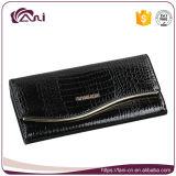 Черный бумажник муфты рамки металла зерна крокодила, высокое качество бумажника неподдельной кожи женщины