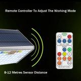 Controle remoto 76 levou 15W 1700lm Sensor de Radar de microondas de alumínio 6 Modos de funcionamento da luz de jardim Solar