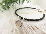 Form-ledernes Seil-gerundetes Mond-Charme-Armband mit Zircon-Stein