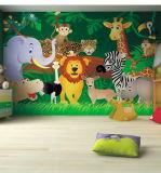 Papier peint mignon décoratif à la maison de peintures murales d'animaux de zoo pour le mur de pièce de gosses