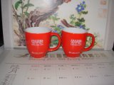 Deux tons de couleur émaillée de promotion de la céramique en forme de tambour tasse de café (WSY119M)