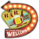 """포도 수확 훈장 앙티크 """"Top에 환영받은 얼음 찬 Beer"""" 디자인 금속 벽 장식 W/LED 빛"""