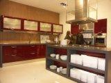Armário de cozinha de madeira personalizado do folheado