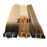 Grampo de cabelo europeu desenhado dobro da cor de Brown na extensão do cabelo humano
