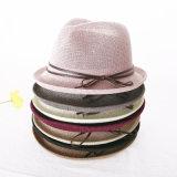 ばねおよび夏のシルクハットの日曜日の帽子の日曜日の陰浜の海岸のイギリスジャズ麦わら帽子