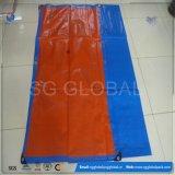 Couverture imperméable à l'eau orange bleue de bâche de protection de PE avec des oeillets