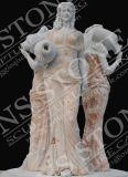 Pure White Marble Beauty Maiden Fountain pour jardin Mf-067