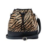 Moda Zebra Print Fake Fur Drawstring Bucket Shoulder Bag (MBNO041010)