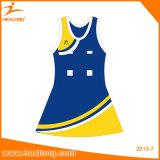 Healong黄色いカラー昇華安い女性のBodysuitのネットボールの服