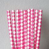 Paglie di carta ecologiche calde di colore 100% di colore rosa per il partito