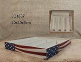 Vintage Diseño de bandera estadounidense de madera Juego de posavasos
