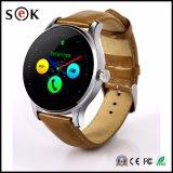Montre intelligente en cuir de Bluetooth de bracelet de montre de K88h pour l'androïde et l'écran des téléphones IP54 Ogs d'IOS