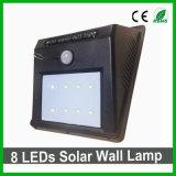 Luz solar impermeável ao ar livre do jardim do sensor da luz PIR da parede do diodo emissor de luz 8LEDs