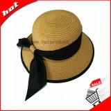 Sombrero flojo de Sun de la paja de papel redonda