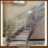 Escadaria de vidro de aço da espiral dos trilhos para interno (SJ-3029)