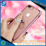 Caso creativo do telefone de pilha do Rhinestone do suporte do anel do escudo da flor do diamante para o iPhone 6