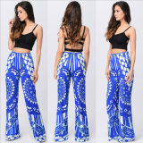 Pantalones de la Recto-Pierna de la impresión de la ropa del estilo de la manera para la ropa de la mujer