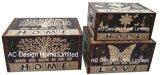 S/3 de Decoratieve Antieke Uitstekende Dierlijke Doos van de Boomstam van de Opslag van de Druk Pu Leather/MDF van het Ontwerp van het Leer Rechthoekige Houten