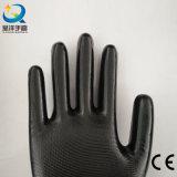 Nylon перчатки работы безопасности черноты вкладыша 13gauge покрынные нитрилом (N6002)