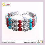 Costume Red e Green Glass Balls Alloy Bangle