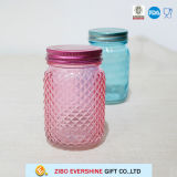 Choc de maçon en verre coloré par vente en gros avec le couvercle