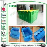 Nistbarer stapelbarer Plastikkastenbeweglicher Tote mit Kappe