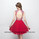 Borgoña Chiffon Short Homecoming vestidos con espalda abierta vestido de Prom.