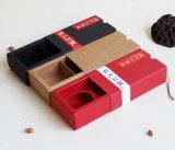 Mercancías del punto 2 paquetes del rectángulo negro de Mooncake del papel de Kraft, rectángulo de papel plegable, rectángulo de regalo de Mooncake