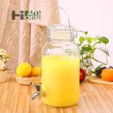 tarro de cristal de gran capacidad del almacenaje del zumo/del vino de fruta 4000ml con la tapa