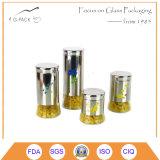 De acero inoxidable recubierto de cristal del frasco con la impresión de la insignia