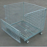Envase plegable y amontonable galvanizado del acoplamiento de alambre del almacenaje del almacén