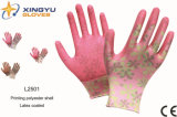 Перчатка работы безопасности отделки Crinkle Polyestershell печатание покрынная латексом (L2501)