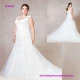 Hoch entwickeltes Tulle-Aufflackern-Hochzeits-Kleid mit wulstigem Ausschnitt