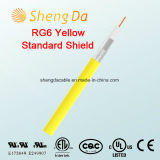 RG6 Standard Shield Yellow Coaxial Cable para CATV - Cor customizada