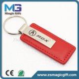 Het uitstekende kwaliteit Aangepaste Metaal Keychain van het Leer met Dubbele Sleutelring