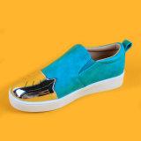 Выскальзование PU кота малышей кожаный голубое на ботинках Loafers мальчиков