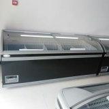 Congelador curvado 500L escuro do console da caixa da porta do cinza para o supermercado