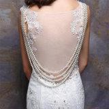 두 배 결박 진주 사슬 (W715)를 가진 상아빛 등이 없는 신부 결혼 예복