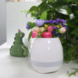 Commerce de gros cadeau d'anniversaire Indoor Touch Smart Mini LED de la musique des pots de fleurs Pot de fleurs avec lampe colorée et haut-parleur Bluetooth