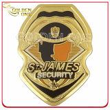 Gold überzogenes kundenspezifisches Metallmarschall-Abzeichen mit echtes Leder-Halter