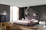 Самомоднейшая новая кровать неподдельной кожи Brown конструкции (HC329)
