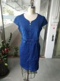 Vestito semplice dal breve manicotto sottile del denim delle donne di estate