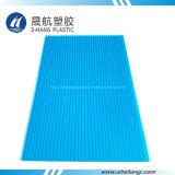 青い多炭酸塩の空のプラスチックシート