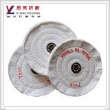 Roue de polissage de polissage blanchie d'amende blanche de tissu de coton