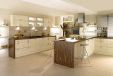 Moderner Entwurfs-Melamin-Tür-Fertigstellungs-Küche-Schrank mit flachem Rand