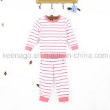 Meninas de algodão orgânico de moda popular de manga comprida de pijama pijamas